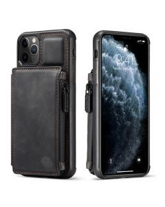 PU Leather Zipper Card Holder Wallet Back Case Cover For Apple iPhone 11 Pro - Black
