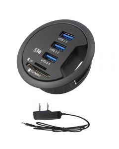 USB 3.0 HUB Mount in Desk Multi USB 2.0 Ports With SD TF Headphone Microphone Splitter Adapter For PC / Tablet - Black