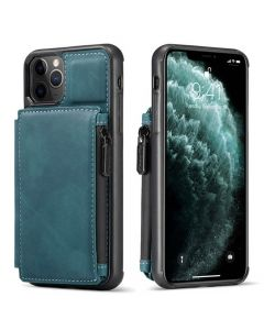 PU Leather Zipper Card Holder Wallet Back Case Cover For Apple iPhone 12 / iPhone 12 Pro - Blue