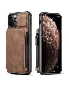 PU Leather Zipper Card Holder Wallet Back Case Cover For Apple iPhone 12 / iPhone 12 Pro - Brown