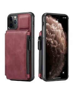 PU Leather Zipper Card Holder Wallet Back Case Cover For Apple iPhone 12 / iPhone 12 Pro - Red