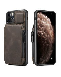 PU Leather Zipper Card Holder Wallet Back Case Cover For Apple iPhone 12 Pro Max - Coffee