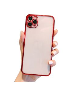 Luxury Plating Clear Case Ultra-thin Slim Transparent Fashion Back Cover Case For Apple iPhone 12 Pro - Red