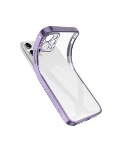 Luxury Plating Clear Case Ultra-thin Slim Transparent Fashion Back Cover Case For Apple iPhone 12 Pro - Purple
