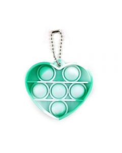 Mini Push Bubble Simple Dimple Pop Fidget Toy Stress Relief Toy Hearth Shape Keychain - Green / White