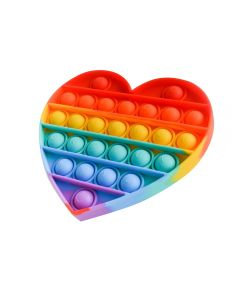 Rainbow Heart Push Pop Bubble Pop Fidget Toy Stress Relief And Anxiety Bubble Squeeze Toy For Kids / Adults