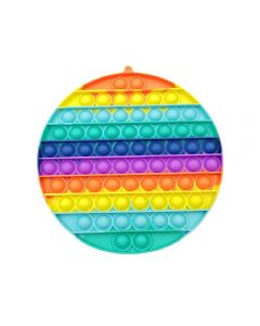 20cm Multi Color Rainbow Circle Push Bubble Pop Fidget Toy Silicone Game Toy Stress Reliever For Kids / Adults