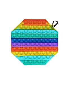 20cm Multi Color Rainbow Octagon Push Bubble Pop Fidget Toy Silicone Game Toy Stress Reliever For Kids / Adults