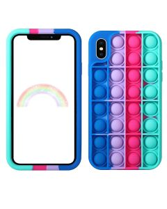 Push Bubble Pop Fidget Toy Soft TPU Silicone Protective Case Cover For Apple iPhone X / XS - Blue / Green