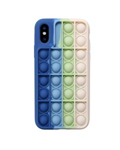 Push Bubble Pop Fidget Toy Soft TPU Silicone Protective Case Cover For Apple iPhone XS Max - Blue / White
