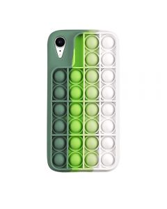 Push Bubble Pop Fidget Toy Soft TPU Silicone Protective Case Cover For Apple iPhone XR - Green / White