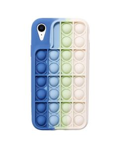 Push Bubble Pop Fidget Toy Soft TPU Silicone Protective Case Cover For Apple iPhone XR - Blue / White