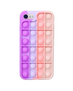 Push Bubble Pop Fidget Toy Soft TPU Silicone Protective Case Cover For Apple iPhone 8 / SE(2020) - Pink / Purple