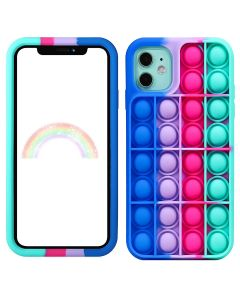 Push Bubble Pop Fidget Toy Soft TPU Silicone Protective Case Cover For Apple iPhone 11 Pro Max - Blue / Green