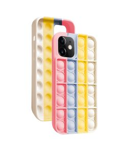Push Bubble Pop Fidget Toy Soft TPU Silicone Protective Case Cover For Apple iPhone 12 Pro - Pink / White