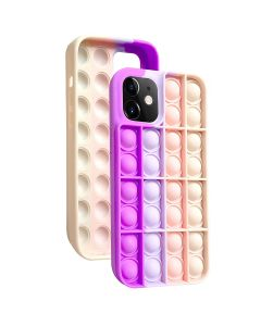 Push Bubble Pop Fidget Toy Soft TPU Silicone Protective Case Cover For Apple iPhone 12 Pro - Pink / Purple