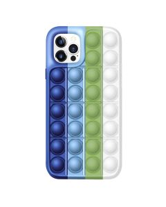 Push Bubble Pop Fidget Toy Soft TPU Silicone Protective Case Cover For Apple iPhone 12 Pro - Blue / White