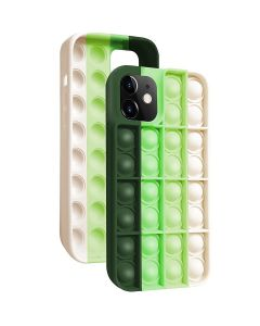Push Bubble Pop Fidget Toy Soft TPU Silicone Protective Case Cover For Apple iPhone 12 Pro Max - Green / White