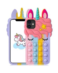 Unicorn Style Case Pop Fidget Toy TPU Silicone Protective Case Cover For Apple iPhone 12 Pro - Rainbow