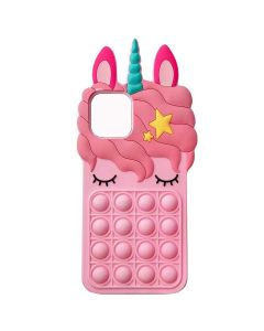 Unicorn Style Case Pop Fidget Toy TPU Silicone Protective Case Cover For Apple iPhone 12 Pro - Pink