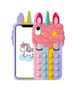 Unicorn Style Case Pop Fidget Toy TPU Silicone Protective Case Cover For Apple iPhone XR - Rainbow