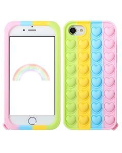 Sweat Heart Style Pop Fidget Toy Soft TPU Silicone Protective Case Cover For Apple iPhone 8 / SE (2020) - Rainbow