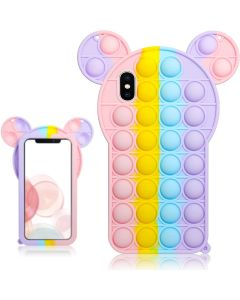 Cartoon Big Ear Style Pop Fidget Toy Soft TPU Silicone Protective Case Cover For Apple iPhone X / XS - Rainbow