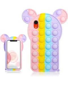 Cartoon Big Ear Style Pop Fidget Toy Soft TPU Silicone Protective Case Cover For Apple iPhone XR - Rainbow