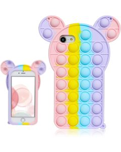 Cartoon Big Ear Style Pop Fidget Toy Soft TPU Silicone Protective Case Cover For Apple iPhone 8 / SE (2020) - Rainbow