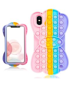 Cute Fun Style Pop Fidget Toy Soft TPU Silicone Protective Case Cover For Apple iPhone X / iPhone XS - Rainbow