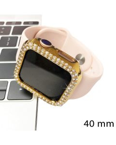 Crystal Diamond Design Bumper Case Body Protection Cover Watch Shell For Apple Watch 40mm Series 4 / 5 / 6 - Gold