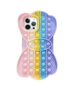 Cute Fun Style Pop Fidget Toy Soft TPU Silicone Protective Case Cover For Apple iPhone 12 Pro - Rainbow