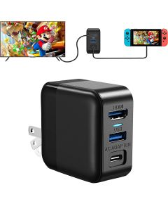 39W Dock Charger 3-Ports AC Adapter Fast Charging Type C / USB 3.0 / HDMI Support TV Mode For Nintendo Switch