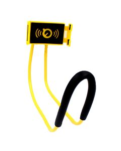 Universal 360 Degree Rotation Lazy Over-The-Neck Hands-Free Holder For Phones - Yellow