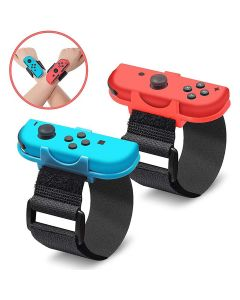 2-in-1 Wristband Adjustable Elastic Strap For Nintendo Switch Joy Con Controllers - Black