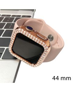 Crystal Diamond Design Bumper Case Body Protection Cover Watch Shell For Apple Watch 44mm Series 4 / 5 / 6 - Rose Gold