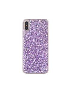 Sheer Crystal Twinkling Glass Crystal Fashionable Phone Case For Apple iPhone XR - Purple