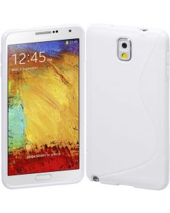 S Shape Gel TPU Rubber Case Cover for Samsung Galaxy Note 3 III - White