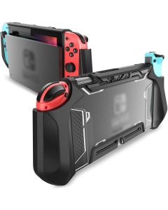 TPU Grip Protective Dockable Cover Case Blade Series For Nintendo Switch Console And Joy-Con Controller - Black