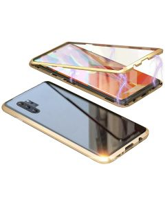 Magnetic Adsorption Metal + Tempered Glass Hybrid Phone Cover Case Back Case Cover For Samsung Galaxy Note 10+ Plus - Black/Gold