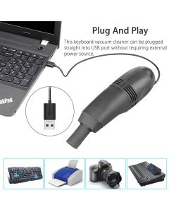 Mini USB Vacuum Cleaner Brush Dust Dirt Cleaning Kit For PC/Computer/Keyboard/Laptop/Camera/Printer/Console - Black