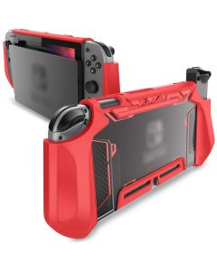 TPU Grip Protective Dockable Cover Case Blade Series For Nintendo Switch Console And Joy-Con Controller - Red