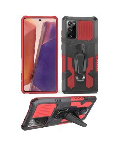 Rugged Armor Shield Belt-clip Kickstand Protective Shockproof Hard Case Cover For Galaxy Note 20 Ultra - Black/Red