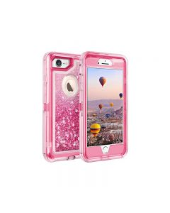 Anti Drop Shockproof 3D Bling Glitter Sparkle Liquid Clear Dual Layer Quicksand Back Shell Case For iPhone 7/8 - Pink