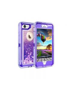 Anti Drop Shockproof 3D Bling Glitter Sparkle Liquid Clear Dual Layer Quicksand Back Shell Case For iPhone 6 /6S Plus - Purple