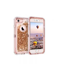 Anti Drop Shockproof 3D Bling Glitter Sparkle Liquid Clear Dual Layer Quicksand Back Shell Case For iPhone 6 /6S Plus - Rose Gold