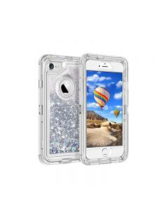Anti Drop Shockproof 3D Bling Glitter Sparkle Liquid Clear Dual Layer Quicksand Back Shell Case For iPhone 6 /6S Plus - Silver