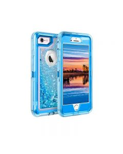 Anti Drop Shockproof 3D Bling Glitter Sparkle Liquid Clear Dual Layer Quicksand Back Shell Case For iPhone 6 /6S Plus - Blue