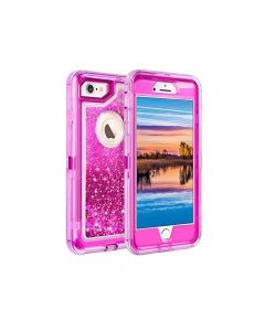 Anti Drop Shockproof 3D Bling Glitter Sparkle Liquid Clear Dual Layer Quicksand Back Shell Case For iPhone 6 /6S Plus - Hot Pink