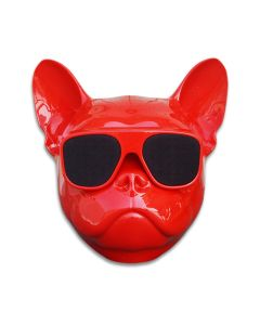 Bulldog Portable Bluetooth Speakers 8W Output Bass Stereo Cool Artistic Wireless Speaker for Home Party - Red